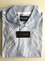 Kitaro Men Polo-Shirt Herren Kurzarm Blau Gestreift Baumwolle Gr. M