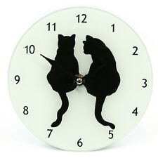 FROSTED GLASS  BLACK CAT COUPLE SILHOUETTE PICTURE WALL CLOCK 16 CM HIGH