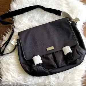 VTG Coach Large Black Messenger Bag Canvas & Leather M1069-F70293 NWT NOS