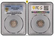 1918 Australia Silver Threepence 3D PCGS Ms64 Choice Unc 8 Pearls WWI