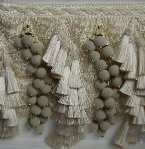 Large luxury beaded tassel trim fringe 9 cm width - for curtains or blinds