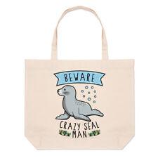 Beware Crazy Seal Man Large Beach Tote Bag - Funny Animal Sea Cute Shoulder