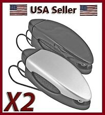 NEW SET 2 SILVER & BLACK CAR SUN VISOR CLIP HOLDERS FOR SUNGLASSES & EYEGLASSES