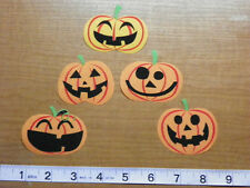 Halloween Pumpkins Fabric  Iron On Appliques!!!  style #2   IRON ONS!!