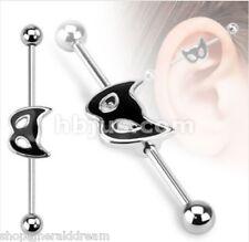 TJS 38mm 14G CAT MASK Industrial Barbell Scaffolding Ear Piercing Bar Ball Ends