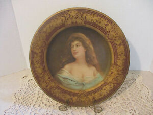 Antique Tin Vienna Art Plate with Lady Portrait, Pat. Feb. 21, 1905