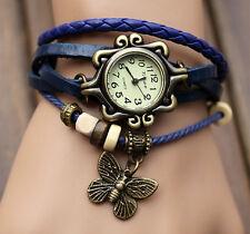 Retro Blue Butterfly Bracelet Leather Women Quartz watch Bangle Wristwatch L7