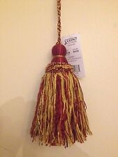 Drapery 6 Inch Tassel Curtain Trim Oxblood Red And Gold