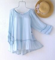 New~$58~Sky Blue Crochet Lace Peasant Blouse Shirt Ruffle Boho Top~Size Large L