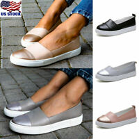 Womens Leather Loafers Casual Round Toe Flats Ladies Slip On Sneakers Shoes Size