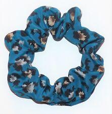 NEW BLUE ANIMAL PRINT HANDMADE LARGE ELASTIC SCRUNCHIES PONYTAIL HAIR BAND E418