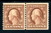 USAstamps Unused VF US 1909 Washington 2mm Spacing Coil Pair Scott 354 OG MLH
