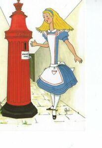 postcard: ALICE IN WONDERLAND & PILLARBOX POST BOX  Rosalind Wicks