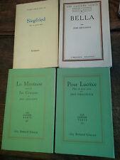 Lot de 4 livres de Jean Giraudoux La Menteuse Siegfried Bella Pour Lucrèce