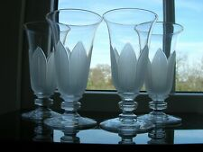 """Antique - """"Richardson"""" Four Victorian Jelly Glasses - Stylised Frosted Leaves."""