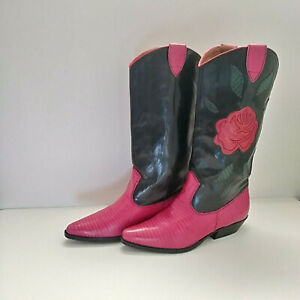 Leather Western Boots With Pink Roses  - Gorgeous Size 8.5 M