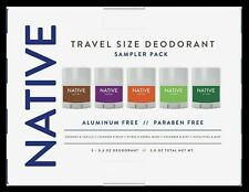 NATIVE Travel Size Deodorant Sampler 5 Pack 0.6 oz Each-Aluminum + Paraben Free