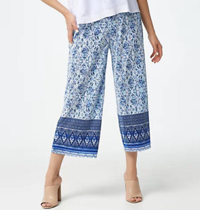 Susan Graver Regular Printed Pleated Knit Pull-on Crop Pants - Blue/Navy - 2X