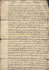 1729 Sutton, Chester, Manuscrito Documento, El Testamento De Robert Orme