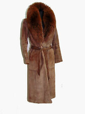 Foxy VTG Suede Leather Coat Huge Fur Collar by Rafael Italy 1970s  Sz 8