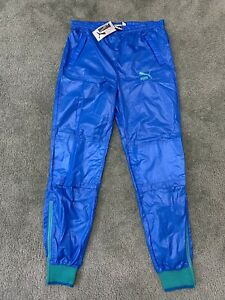 Vintage Deadstock 80s Puma Blue Windbreaker Nylon Track Pants Men's Medium