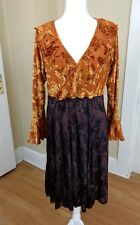Hand Jive Dress Size Large Hand Made In USA Art to Wear Earth Tones Brown Orange