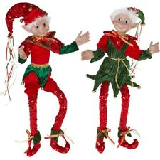 "Raz~Large 33.5"" Sequined Christmas Posable Elves Elf - Set of 2"