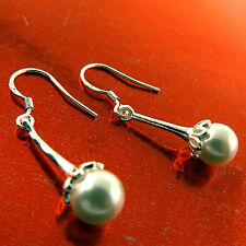EARRINGS REAL 952 STERLING SILVER S/F ANTIQUE PEARL LONG DROP DESIGN FS3A680
