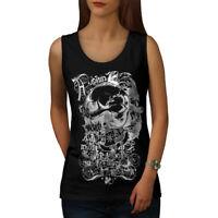 Wellcoda Death Goth Rider Skull Womens Tank Top, Hell Athletic Sports Shirt