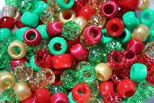100 x Christmas Mix Pony Beads 9mm x 6mm Hole 4mm - Ideal For Dummy Clips