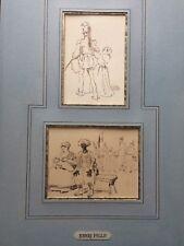 2 Dessins anciens encres XIX ème Henri Pille papier vergé