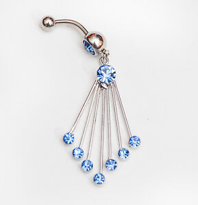 Gorgeous navel belly bar with pretty dark blue gems on 7 dangle strands