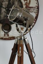 Rustic Teak Tripod Lamp Spot Light Hand Made Table Bedside vintage chrome retro