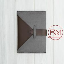 "Cover for Bookeen CyBook Ocean 8"" inch Soft Grey Felt and Brown Leather Case"