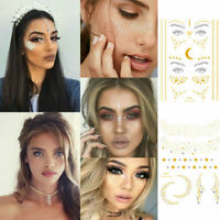 Women Temporary Gold Face Tattoo Glitter Cheek Decor Festival Makeup Stickers