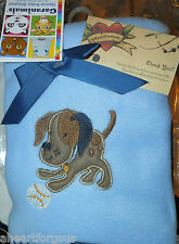 BLANKET PUPPY DOG GARANIMALS BASEBALL BLUE BROWN FLEECE SOFT SWADDLE NEW BOY