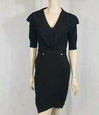 Karen Millen Wool Blend Black Bodycon Dress Stretch V Neck Size 3 UK 12-14