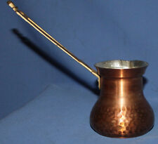 Vintage copper coffee pot with brass handle
