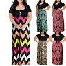 Women Chevron Print Summer O-Neck Short Sleeve Plus Size Casual Long Maxi Dress