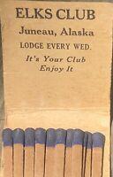 VTG~Juneau ALASKA Elks Club BPOE 420~FRONT STRIKE MATCHBOOK Purple Lodge HUNT