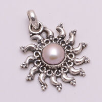 925 Solid Sterling Silver Pendant, Natural Pearl Gemstone Handmade Jewelry P639