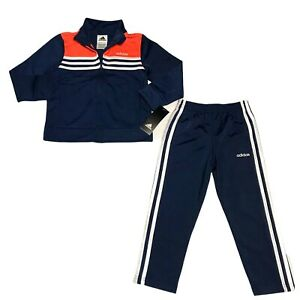 adidas Toddler Boys Field Track Set Jacket & Pants Comfy Reflective Blue Orange