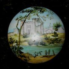 Vintage Porcelain Hand Painted Castle Scene Lidded Trinket/ Jewelry Box  Italy