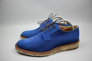 DRIES VAN NOTEN Men's Color Blue Suede Derby Shoes with Camo Sole Size 41