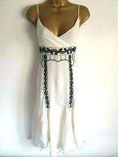 Exquisite KAREN MILLEN   Silk  light cream  embroidered RARE dress 14 UK , EU 42
