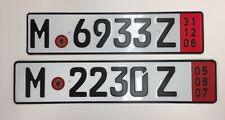 License Plates-2  Germany Munich x 2 Driving Pleasure Export Expired 2006 & 2007