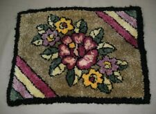 "Vintage Crochet Shag Tapestry with Flower Design measures 16""x12"""