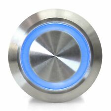 19mm Momentary Billet Buttons with LED Blue or Green Ring hot rods streets rods