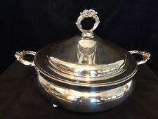 """VINTAGE """"ENGLISH SILVER"""" MFG CORP USA BY LEONARD FOOTED CASSEROLE DISH WITH LID"""