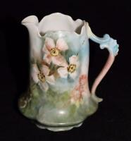 Hand Painted Porcelain Creamer by Sevres Signed Elizabeth '99 Pink White Flowers